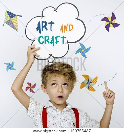 Illustration of paper windmill and flying kite art and craft
