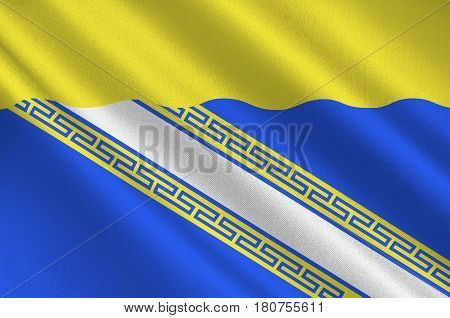 Flag of Aube is a French department in the Grand Est region of north-eastern France. 3d illustration