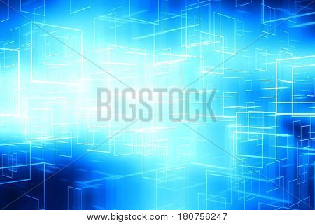 Abstract blue glowing cyberspace data boxes technology background illustration
