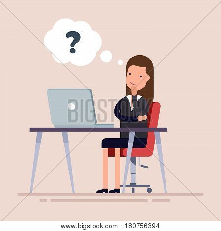 Businesswoman or an employee sitting with laptop and thinking. Confused businesswoman making decision. Problems with the computer. The workplace of a young specialist
