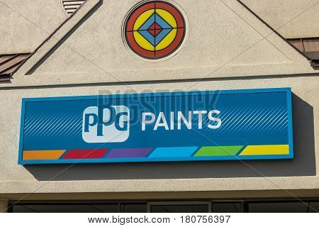 Lafayette - Circa April 2017: Ppg Paints Retail Location. Ppg Industries, Is A Supplier Of Paints, C