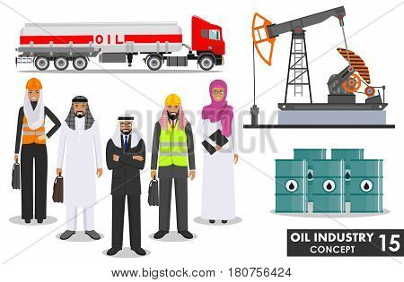 Detailed illustration of gasoline truck, oil pump and group arab muslim business people in flat style on white background.