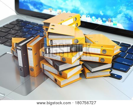 Laptop and pile of ring binders. Database, archive, computer data storage, office paperwork and electronic document management concept. 3d illustration