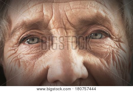 Portrait of elderly woman, closeup