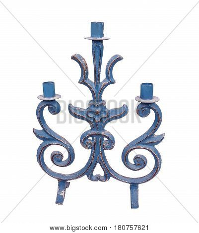 blue wooden candlestick isolated on white background