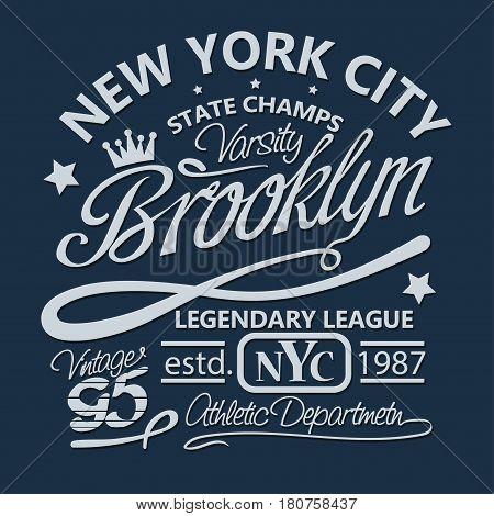 T-shirt stamp New York graphic set, Sport wear typography emblem, vintage tee, athletic apparel design print. vector