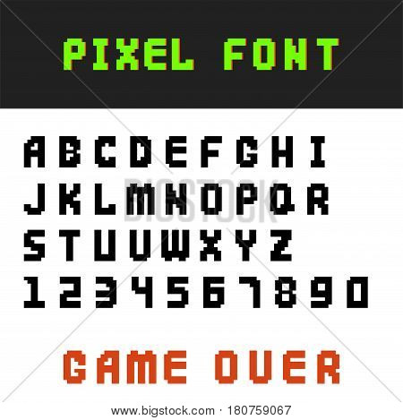 Pixel retro font video computer game design 8 bit letters and numbers. Electronic futuristic style and vector abc typeface digital creative alphabet. Website modern vintage creative graphic.