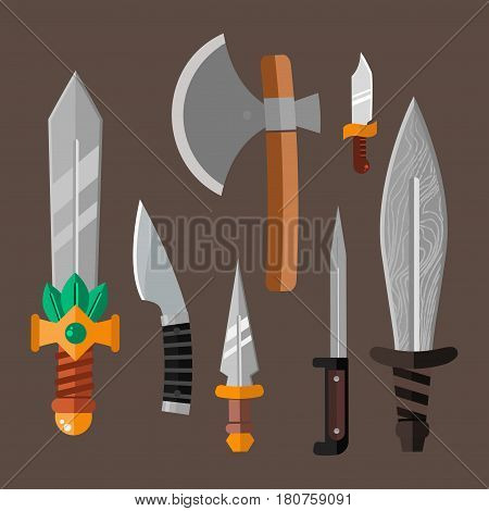Knife weapon dangerous metallic vector illustration of sword spear edged set. Combat and bonder bayonet cold protection or attack steel arms. Warfare defense security traditional antique razor.