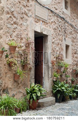 VALLDEMOSSA, SPAIN - MARCH, 2017: Birthplace of Santa Catalina Tomas in Valldemossa on Mallorca island.