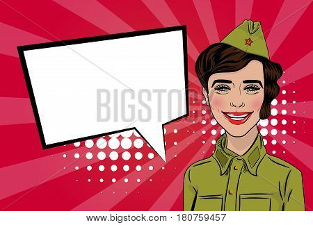 Happy Victory Day card. Russian girl cartoon comic pop art in uniform greetings veterans. Red star on garrison cap. Vector illustration red sunbeam background. Empty speech bubble banner for text.