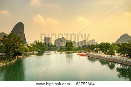Sunset Over Li River In Yangshuo City Area