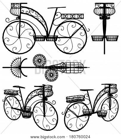 Decorative Flower Stand Rack Bicycle Illustration Vector
