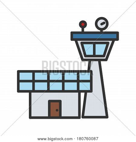 Flight control tower color icon. Isolated vector illustration on white background
