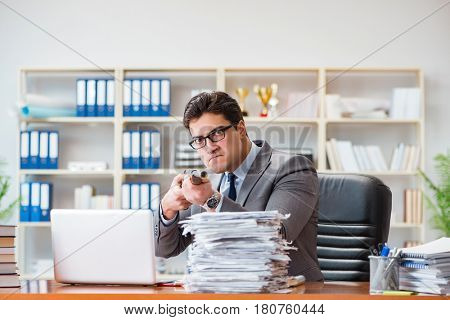 Angry aggressive businessman in the office