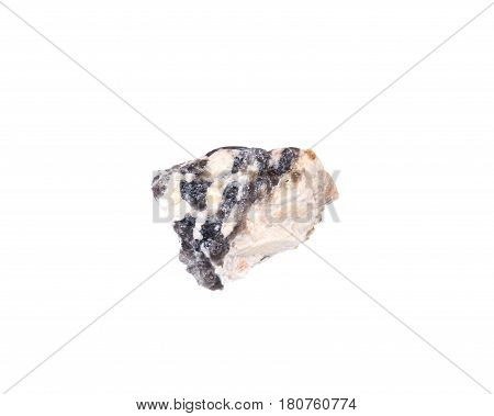 Graphic granite chunk from Madagascar isolated on white background