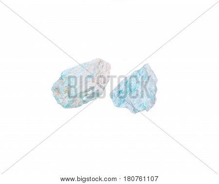 Amazonite chunk from Madagascar isolated on white background