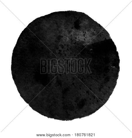 Watercolor abstract black circle isolated on white background. A modern spot of round shape painted in watercolor in shades of charcoal and iron colors. Trendy watercolour texture of 2017