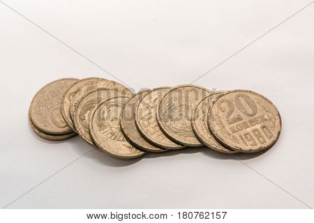 Russian ancient coins. Coins of the USSR. Coins on a white background. Coins close up.