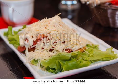 Shrimps Salad. Seafood Salad. Specialty Salad At The Japanese