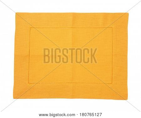 yellow cloth place mat on white background