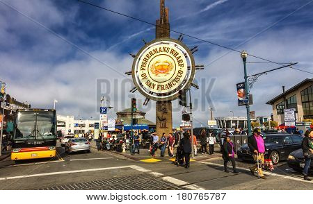 San Francisco USA - November 5: Fishermans Wharf of San Francisco central sign. Fisherman's Wharf is a neighborhood and popular tourist attraction. November 5 2016 San Francisco California.