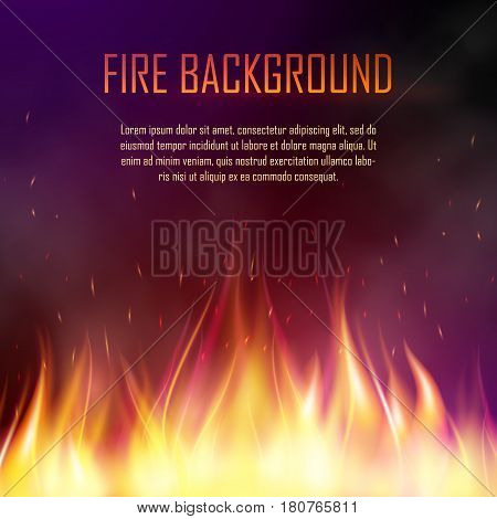 Vector banner with fire. Fiery banner design template. Realistic bright blazing campfire effect. Flaming bonfire illustration isolated on dark background.
