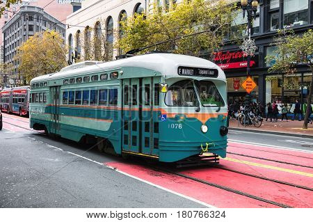 San Francisco Ca, Usa, Historic Street Car