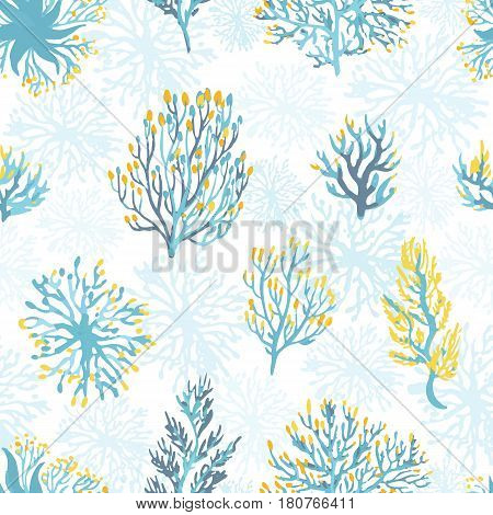 Vector hand drawn wild plants seamless pattern. . Desert dry plants illustration in blue and yellow colors.