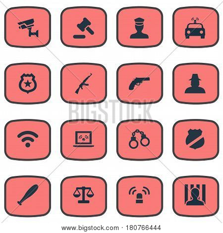 Vector Illustration Set Of Simple Fault Icons. Elements Hammer, Sheriff, Grid And Other Synonyms Equal, Baseball And Stick.