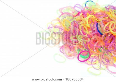 A pile of colorful hair tie / Rubber band / Elastic band