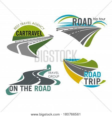Travel trip icons set of roads for tour and tourist agency. Isolated symbols of highway and motorway tunnel for traveler adventure journey and car or bus travel service company