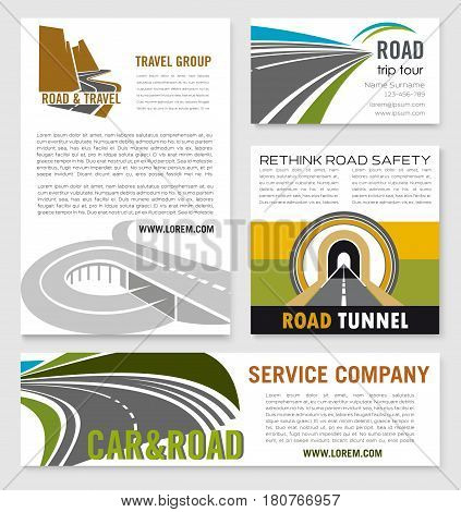 Road travel and tour service company or brand templates set. Vector posters and business card for tourist agency, highway and motorway tunneling construction or traveler adventure journey group
