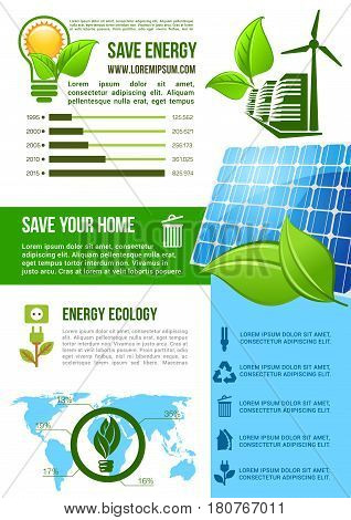 Energy and ecology conservation vector infographics with graph and chart elements on green and solar energy sources. Share and percent statistics on nature save, recycling and consumption in world map