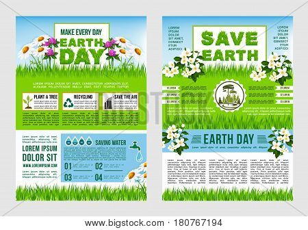 Earth Day, Save Planet information poster template. Green tips to save earth text layout with recycle, saving water, plant trees and save air symbols with spring flowers and grass on background