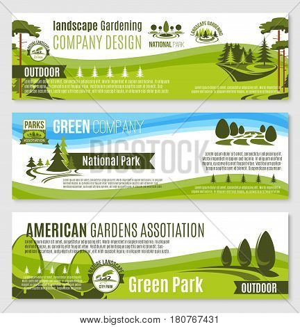 Landscape gardening or planting design company banners templates. Vector set of parks and green nature environment association and trees or gardens horticulture service