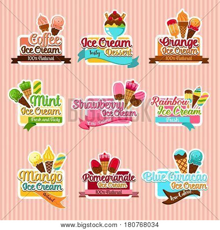 Ice cream stickers. Ice cream taste sorts of fruit ice, mint and strawberry soft ice, frozen pomegranate juice and mango sundae or coffee sorbet with chocolate waffle. Symbols for gelateria cafe menu