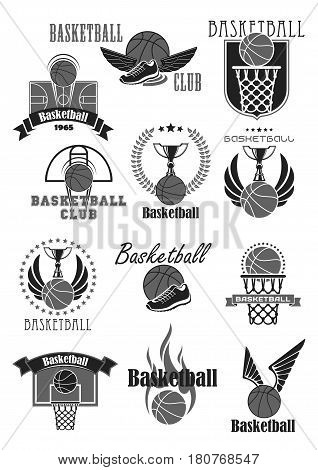 Basketball club badges and championship tournament award symbols templates. Vector icons of ball and basket and player sneakers, winner cup prize or champion ribbon with trophy laurel wreath and stars