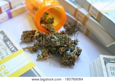 Marijuana Buds And Stacks Of Money High Quality
