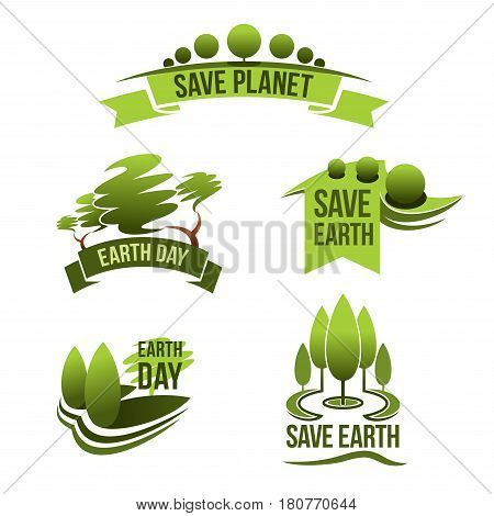 Earth Day vector icons and Save Planet concept isolated symbols. Global green nature and environment protection event template design. Nature forest trees and clean air conservation for earth ecology