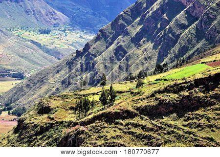 Landscape in Pisac in the Urubamba Valley near Cusco, Peru
