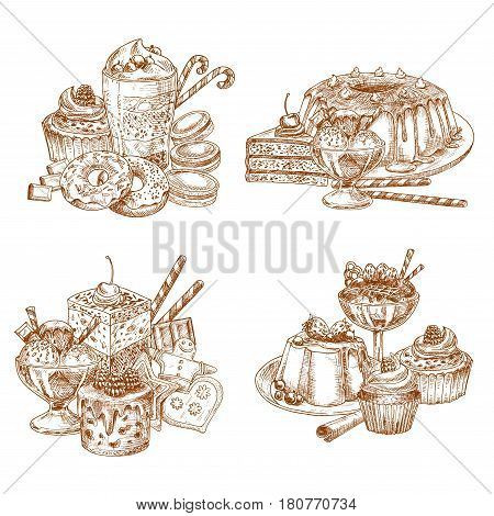 Desserts and cakes sketch of cupcakes and tortes, muffins and puddings, pies and biscuit cookies. Vector chocolate brownie and cheesecake or gingerbread design for bakery shop or patisserie