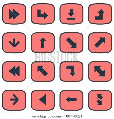 Vector Illustration Set Of Simple Pointer Icons. Elements Left Direction, Pointer, Rearward And Other Synonyms Downwards, Advanced And Arrow.