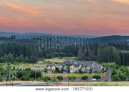 New Housing Suburban Development in the City of Happy Valley Oregon