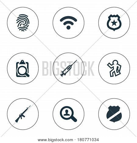 Vector Illustration Set Of Simple Offense Icons. Elements Internet, Violence, Dead Man And Other Synonyms Biometric, Death And Western.