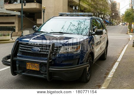 PORTLAND OREGON - APRIL 9 2017: City of Portland Police Bureau Sports Utility Vehicle SUV parked on the street outside city downtown metro station