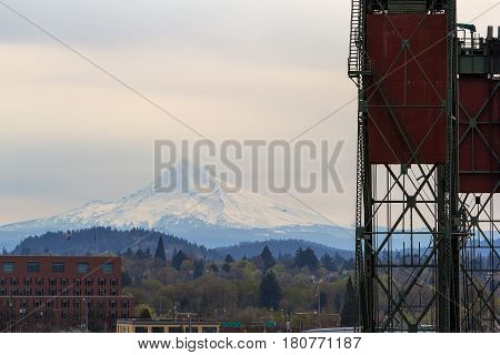 Mount Hood view by Hawthorne Bridge in downtown Portland Oregon Closeup