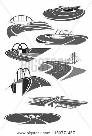 Road and highways icons set for motorway service or transport bridge building and tunnel construction company. Vector templates for car travel or tourist transportation corporation or agency