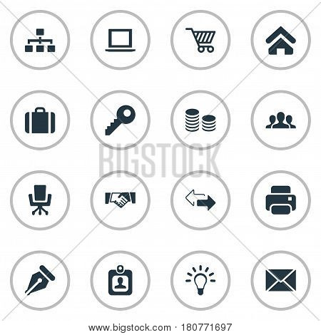 Vector Illustration Set Of Simple Trade Icons. Elements Group, Trading Purse, Relationship And Other Synonyms Pin, Password And Handshake.