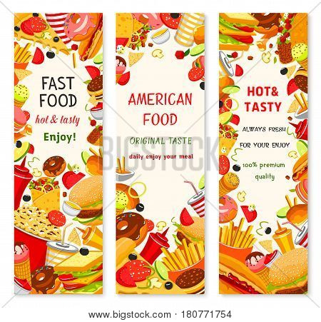 Fast food burgers, hot dog and pizza menu banners for fastfood restaurant design template. Vector french fries and burrito, cheeseburger sandwich and hamburger combo, ice cream and donut dessert