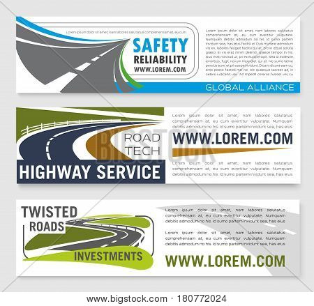 Safety road construction and highways service company or investment corporation banners set. Vector templates of transport motorway building and tourist travel agency
